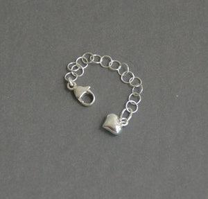 Sterling Silver Necklace Extender with Heart Charm. Choose Your Size