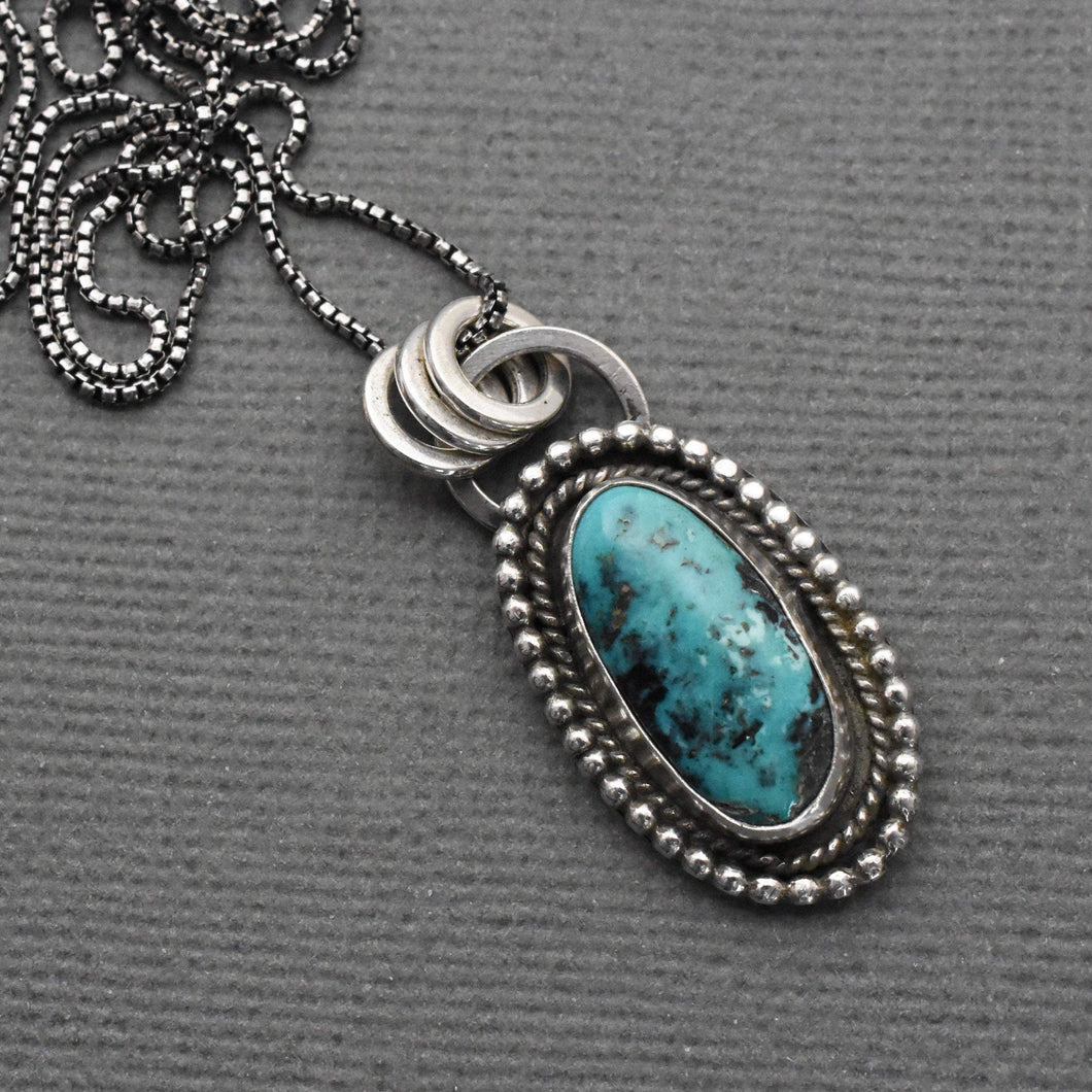 Blue Diamond Turquoise and 925 Sterling Silver Pendant Necklace