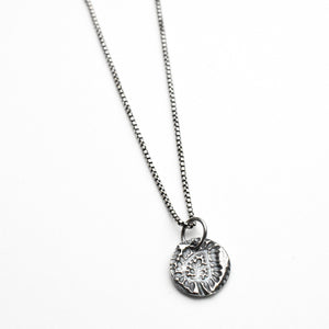 Silver Necklace with Stamped Paisley Design Charm