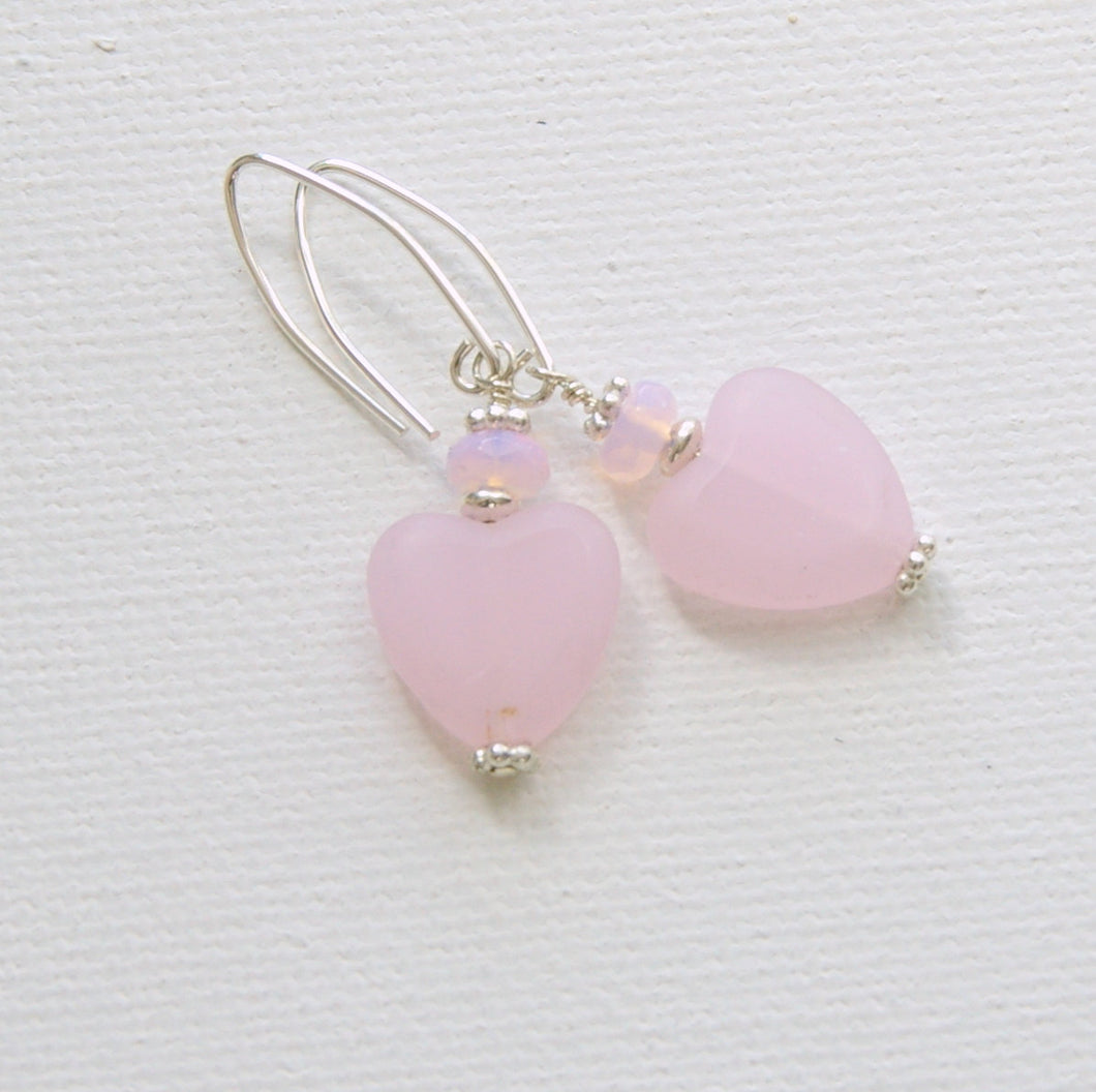Pale Pink Heart and Sterling Silver Earrings