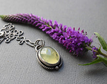 Load image into Gallery viewer, Dendritic Prehnite and Sterling Silver Necklace