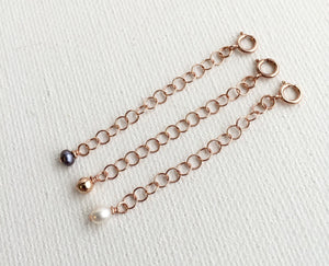 Jewelry Extender in 14k Rose Gold Fill with White Freshwater Pearl Charm. Perfect for Layered Necklaces, Bracelets or Anklets