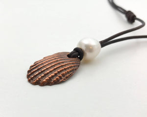 Copper Sea Shell Pendant Long Leather Necklace