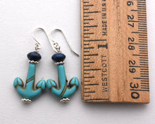 Load image into Gallery viewer, Anchor Earrings. Turquoise Blue Magnesite and Navy Blue Earrings