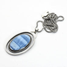 Load image into Gallery viewer, Owyhee Blue Opal and Sterling Silver Pendant Necklace
