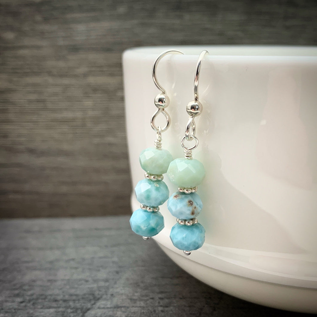Larimar and Solid 925 Sterling Silver