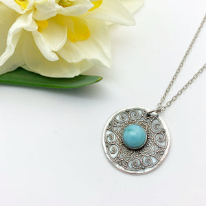 Larimar Medallion Pendant Necklace