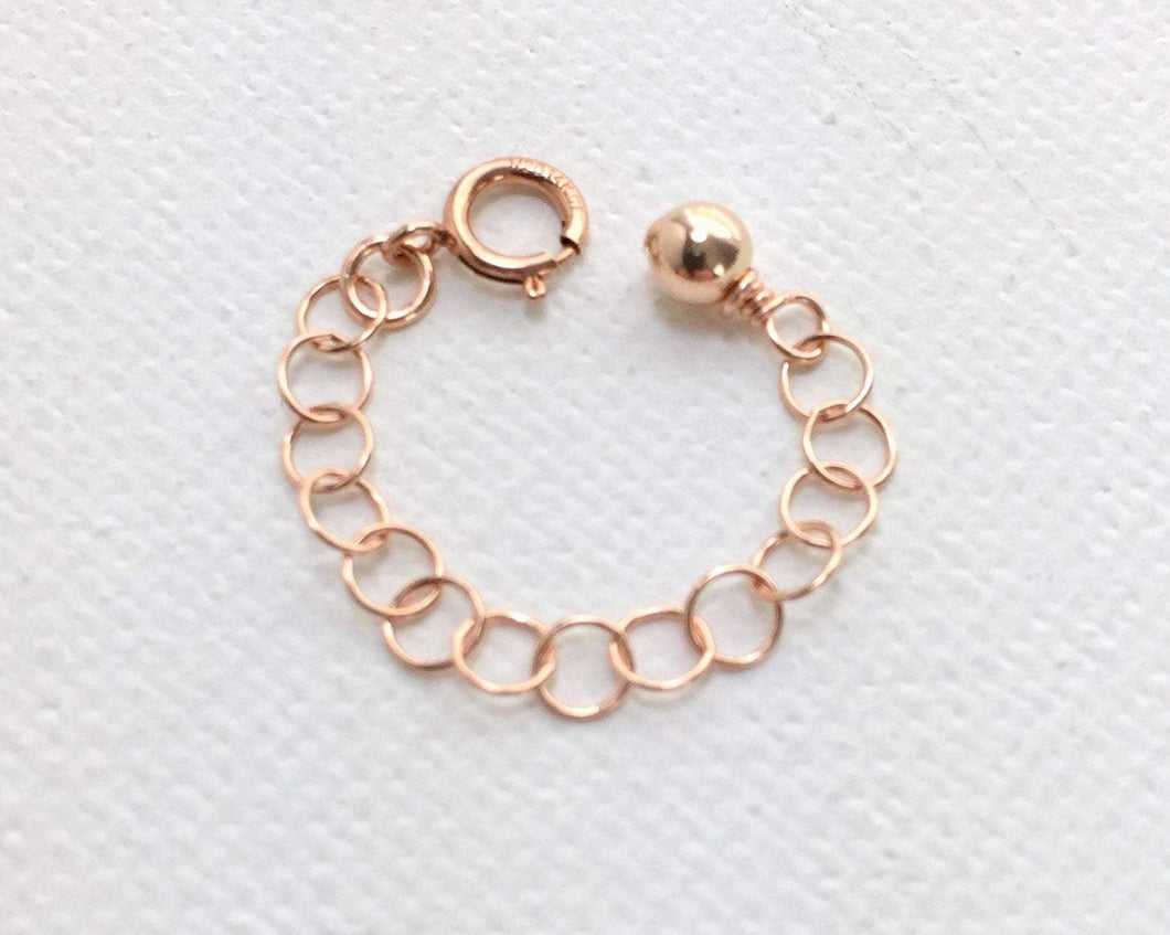 Interchangeable Jewelry Extender in 14k Rose Gold Fill. Clasp, Chain and Charm
