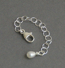 Load image into Gallery viewer, Jewelry Extender in Solid 925 Sterling Silver with Freshwater Pearl Charm. Choose Your Size