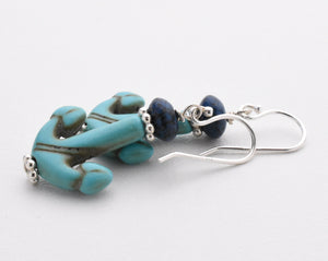 Anchor Earrings. Turquoise Blue Magnesite and Navy Blue Earrings