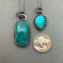 Load image into Gallery viewer, Chrysocolla Necklace. Double-Sided with Saguaro Cactus Cutout on back