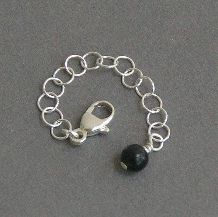 Sterling Silver and Black Onyx Necklace / Bracelet Extender