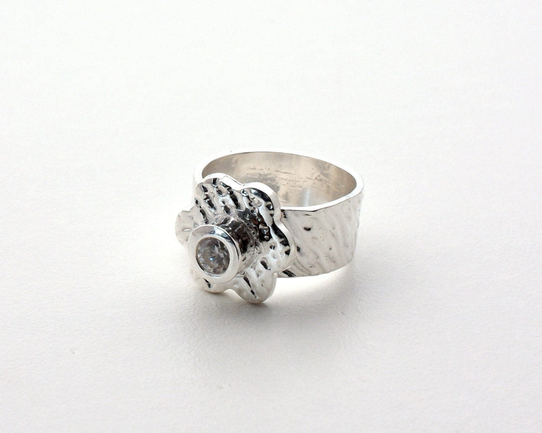 Silver Flower CZ Ring. Size 5-3/4