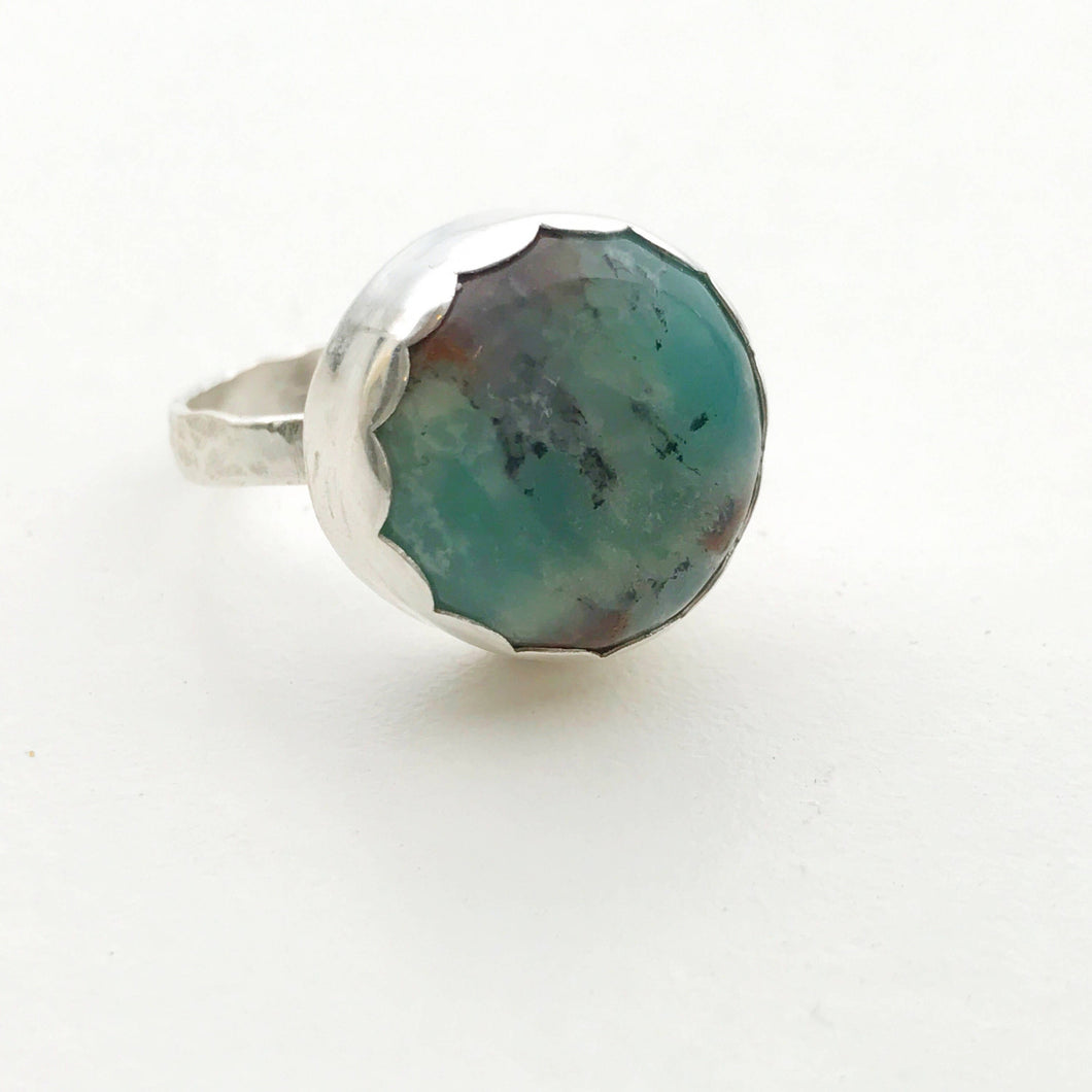Rustic Green and Brown Chrysoprase Ring. Size 8