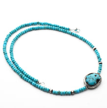 Load image into Gallery viewer, Kingman Turquoise, Arizona Turquoise, Navajo Pearls and Sterling Silver Necklace.