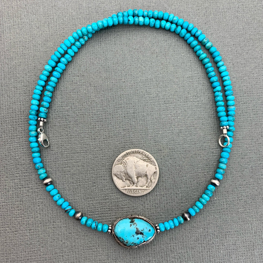 Kingman Turquoise, Arizona Turquoise, Navajo Pearls and Sterling Silver Necklace.