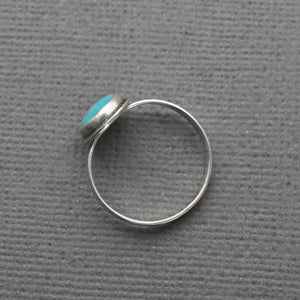 Turquoise and Sterling Silver Stacking Ring With Hidden Heart Stamp on the Band