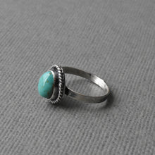 Load image into Gallery viewer, Kings Manassa Turquoise and Sterling Silver Ring With Hidden Heart Stamp. Size 6