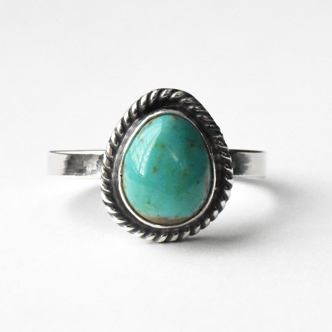 Kings Manassa Turquoise and Sterling Silver Ring With Hidden Heart Stamp. Size 6