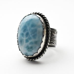 "AAA Larimar Statement Ring Size 8.5 US. ""Mightier than the waves of the sea"" Stamping"