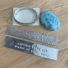 "Load image into Gallery viewer, AAA Larimar Statement Ring Size 8.5 US. ""Mightier than the waves of the sea"" Stamping"