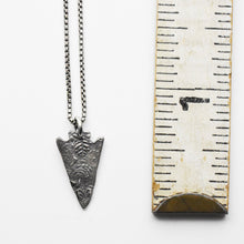 Load image into Gallery viewer, Stamped Silver Arrowhead Necklace. Solid 925 Sterling Silver