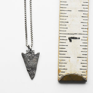 Stamped Silver Arrowhead Necklace. Solid 925 Sterling Silver