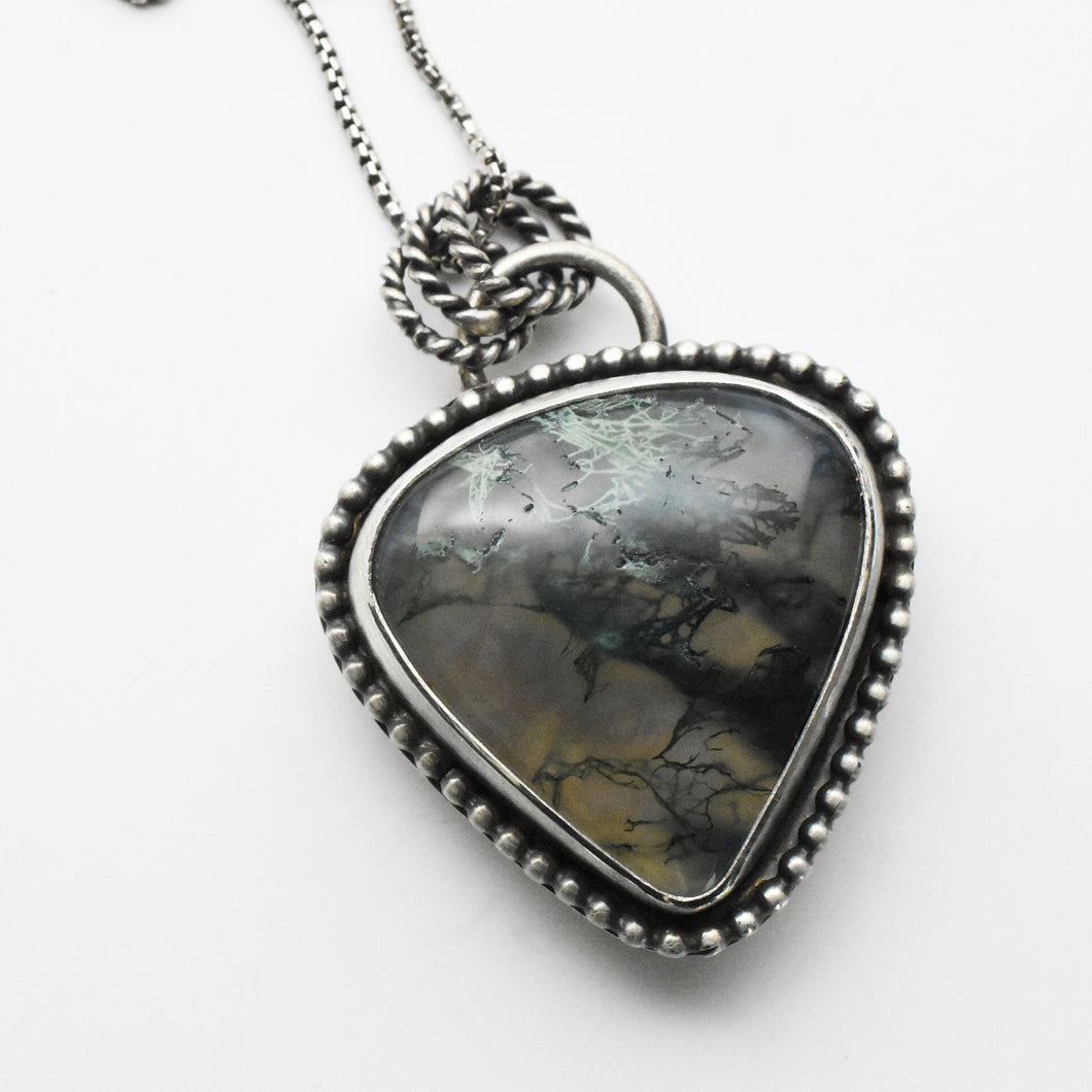 Scenic Moss Agate and Sterling Silver Pendant Necklace. Landscape Scene.