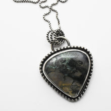 Load image into Gallery viewer, Scenic Moss Agate and Sterling Silver Pendant Necklace. Landscape Scene.