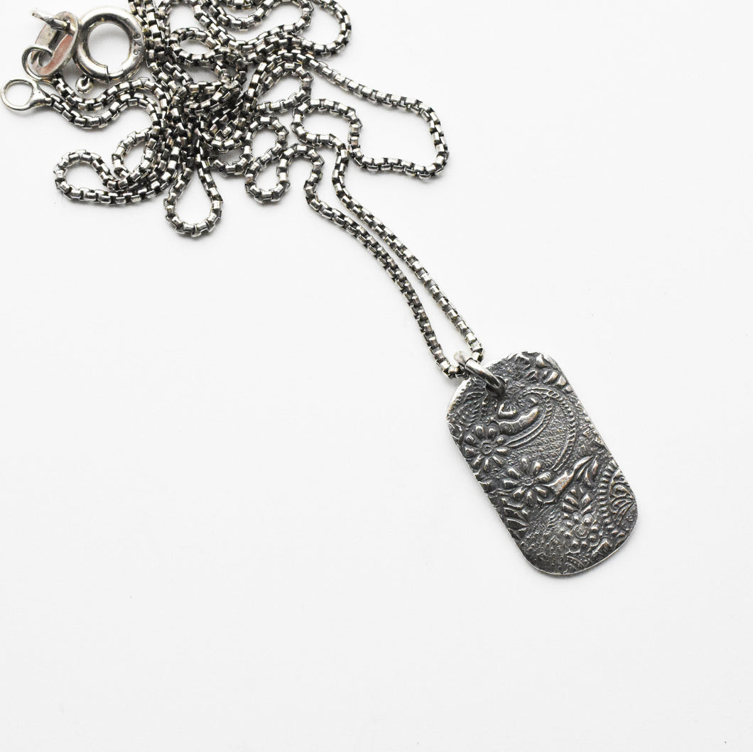 Silver Pendant Necklace with Floral Paisley Design