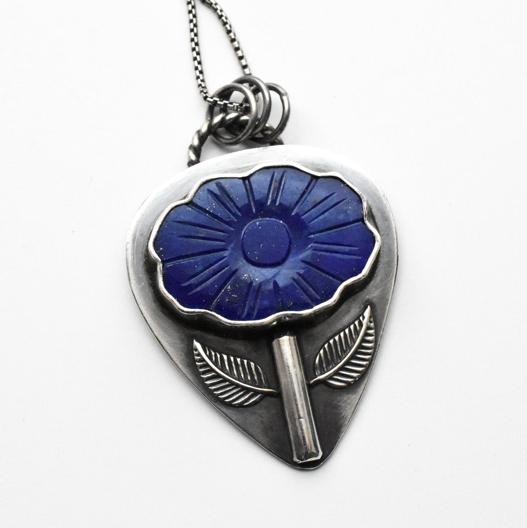 Lapis Lazuli Carved Flower Pendant Necklace with Solid 925 Sterling Silver