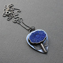 Load image into Gallery viewer, Lapis Lazuli Carved Flower Pendant Necklace with Solid 925 Sterling Silver