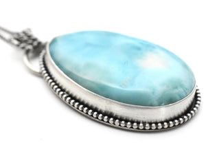 Larimar Pendant Necklace with Natural Hidden Heart. Double Sided Pendant