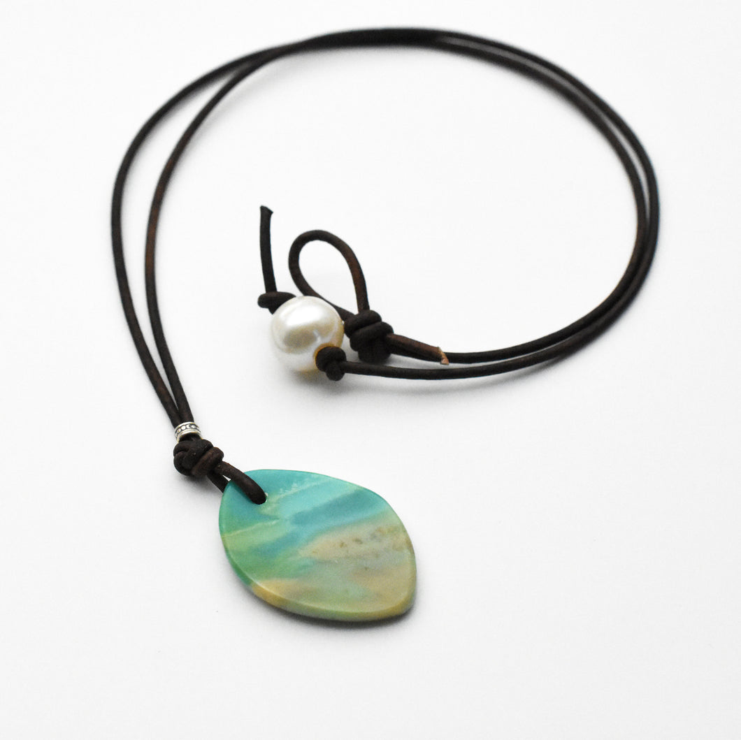 Indonesian Opalized Wood, Freshwater Pearl and Leather Pendant Necklace