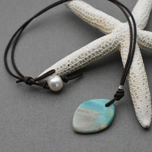Load image into Gallery viewer, Indonesian Opalized Wood, Freshwater Pearl and Leather Pendant Necklace