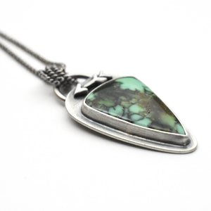 Variquoise Pendant Necklace with Sterling Silver Setting. Arrow and Hidden Heart Pendant