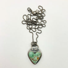 Load image into Gallery viewer, Sand Hill Turquoise and Sterling Silver Pendant. Protective Arrow and Heart Necklace