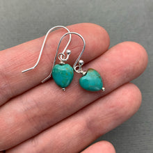 Load image into Gallery viewer, Turquoise Heart Earrings. Heart shaped Turquoise and Solid 925 Sterling Silver Earrings. Love symbol