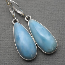Load image into Gallery viewer, Large Larimar Drop and Sterling Silver Lever Back Earrings