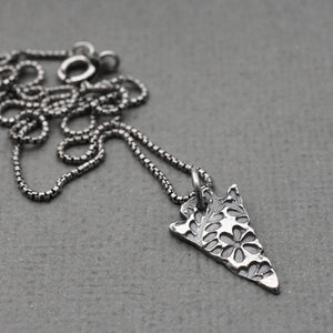 Solid 925 Sterling Silver Stamped Arrowhead Layering Necklace