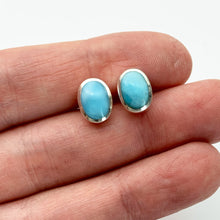 Load image into Gallery viewer, Oval Larimar and Solid 925 Sterling Silver Post / Stud Earrings