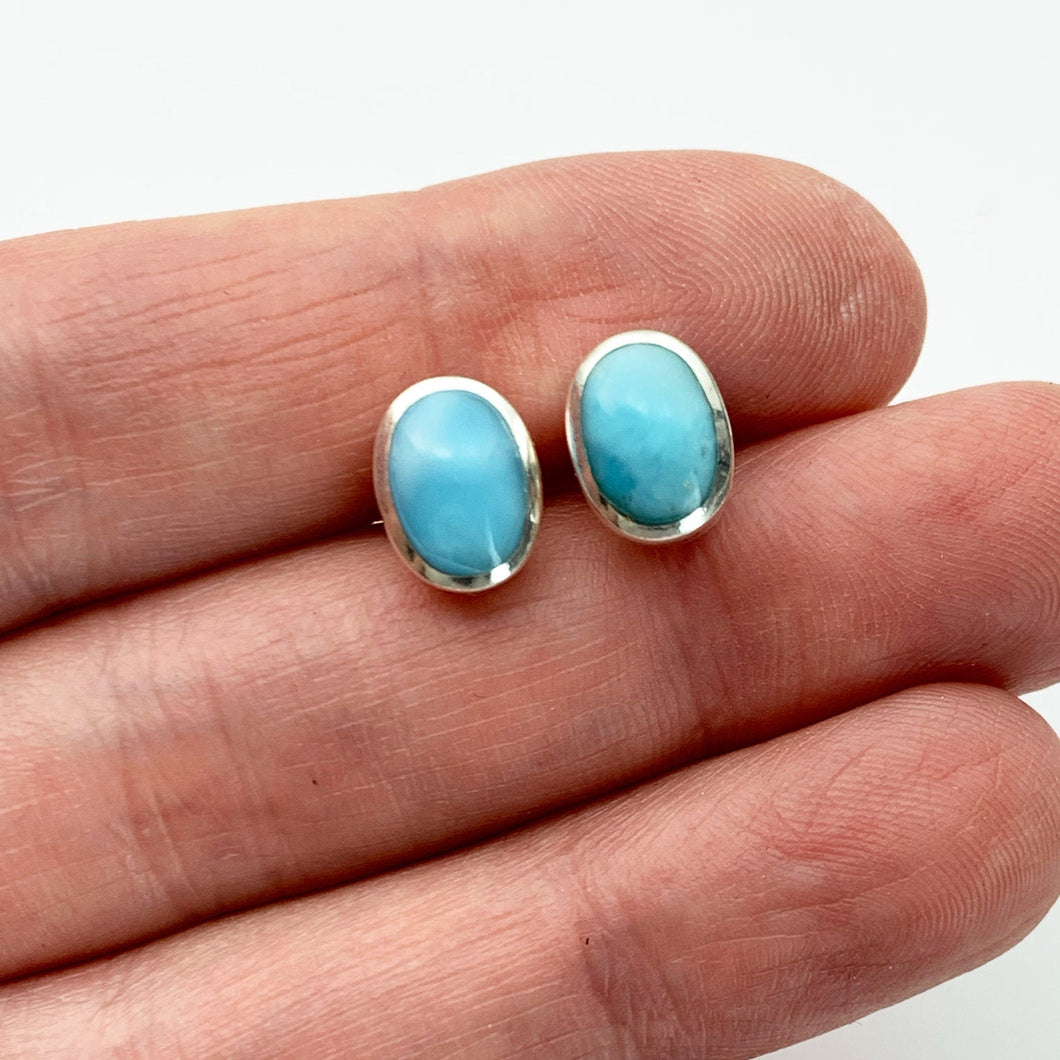 Oval Larimar and Solid 925 Sterling Silver Post / Stud Earrings