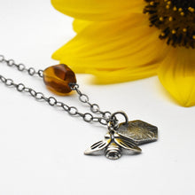 Load image into Gallery viewer, Asymmetrical Amber Bumble Bee Charm Necklace. Sterling Silver
