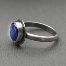 Load image into Gallery viewer, Blue Kyanite and Sterling Silver Ring With Hidden Heart Stamp. Size 9-1/4 US Ring