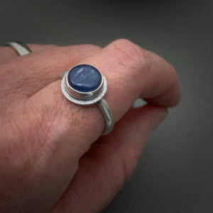 Blue Kyanite and Sterling Silver Ring With Hidden Heart Stamp. Size 9-1/4 US Ring