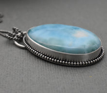 Load image into Gallery viewer, Larimar Pendant Necklace with Natural Hidden Heart. Double Sided Pendant