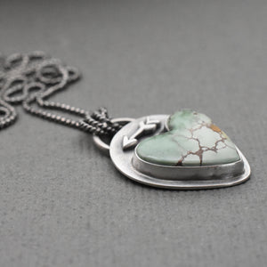 Sand Hill Turquoise and Sterling Silver Pendant. Protective Arrow and Heart Necklace