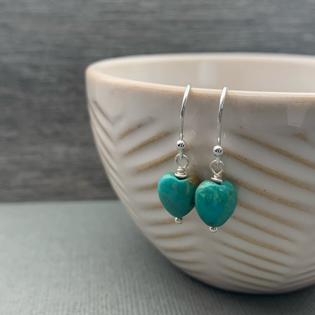 Turquoise Heart Earrings. Heart shaped Turquoise and Solid 925 Sterling Silver Earrings. Love symbol