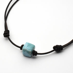 "Larimar and Dark Brown Leather Adjustable Necklace From 15"" Choker to 29 Inches Long"