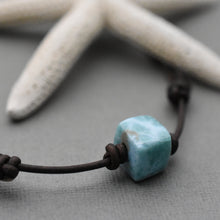 "Load image into Gallery viewer, Larimar and Dark Brown Leather Adjustable Necklace From 15"" Choker to 29 Inches Long"